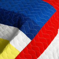 Marionnaud Vermicelli-Quilted Patchwork Geometric Quilt Set (Full/Queen Size) | My Bed Covers