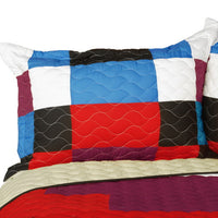 Melody Time 3PC Vermicelli - Quilted Patchwork Quilt Set (Full/Queen Size) - My Bed Covers - 2