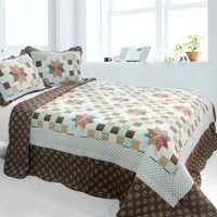 Melt The Snow 3PC Cotton Vermicelli-Quilted Printed Quilt Set (Full/Queen Size) - My Bed Covers - 1
