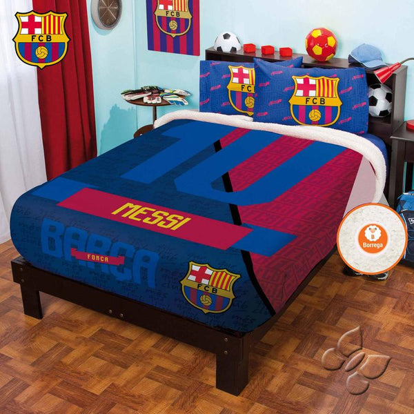 Messi Club Barcelona Blanket With Sherpa