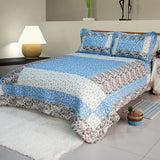 Midsummer Dream Cotton 3PC Floral Vermicelli-Quilted Patchwork Quilt Set (Full/Queen Size) | My Bed Covers