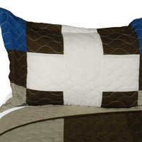 Milky Quartz - B Vermicelli-Quilted Patchwork Geometric Quilt Set (Full/Queen Size) - My Bed Covers - 2