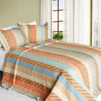 Million Miles Cotton 3PC Vermicelli-Quilted Striped Printed Quilt Set (Full/Queen Size) - My Bed Covers - 1