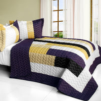 Morning Glory 3PC Vermicelli - Quilted Patchwork Quilt Set (Full/Queen Size) - My Bed Covers - 1