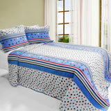 Multicolor Star 3PC Cotton Vermicelli-Quilted Printed Quilt Set (Full/Queen Size) - My Bed Covers - 1