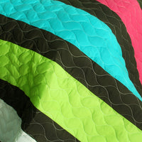 My Way 3PC Vermicelli-Quilted Patchwork Quilt Set (Full/Queen Size) | My Bed Covers
