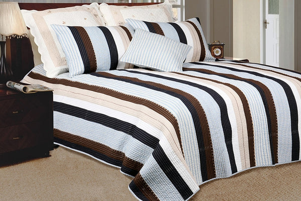 Nathan 100% Cotton 3PC Vermicelli-Quilted Striped Patchwork Quilt Set (King Size) - My Bed Covers - 1