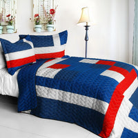 Navy Vermicelli-Quilted Patchwork Geometric Quilt Set (Full/Queen Size) - My Bed Covers - 1