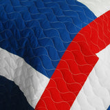 Navy Vermicelli-Quilted Patchwork Geometric Quilt Set (Full/Queen Size) - My Bed Covers - 4