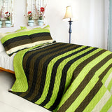 Olive 3PC Vermicelli-Quilted Patchwork Quilt Set (Full/Queen Size) - My Bed Covers - 1