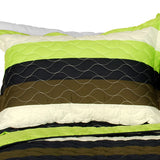 Olive 3PC Vermicelli-Quilted Patchwork Quilt Set (Full/Queen Size) - My Bed Covers - 2
