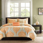California 5-Piece Orange Damask Print Comforter Set (King Size) | My Bed Covers