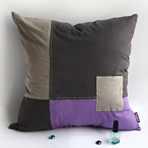 Passion Knitted Fabric Patch Work Pillow Cushion - My Bed Covers - 1