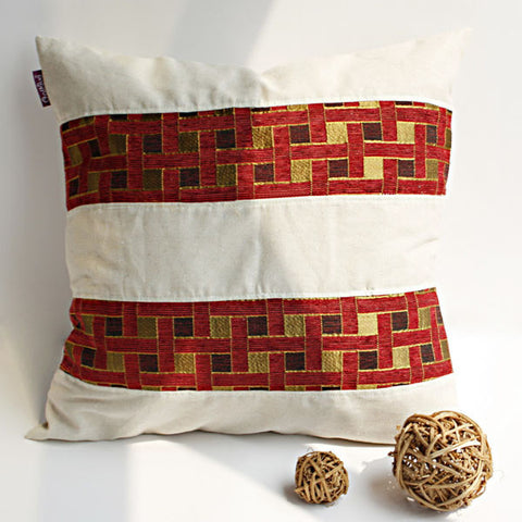 Passion Red Valley Linen Patch Work Pillow Cushion - My Bed Covers