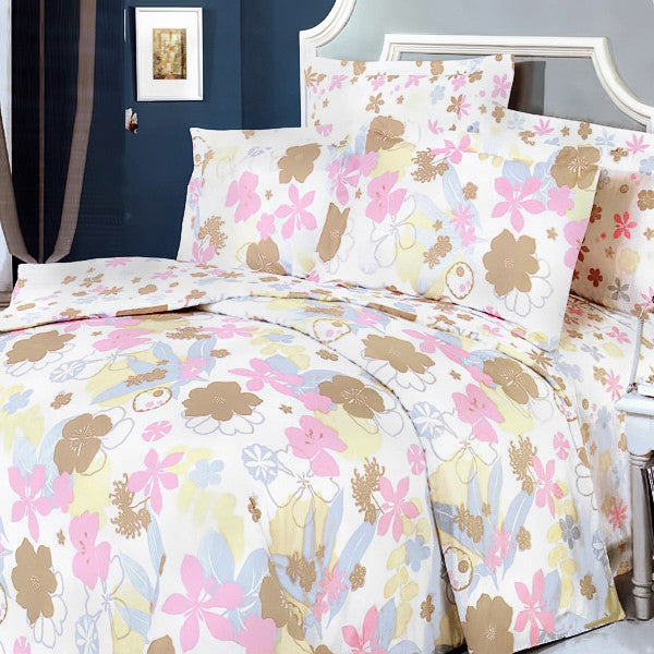 Pink Brown Flowers 100% Cotton 4PC Duvet Cover Set (Queen Size) | My Bed Covers