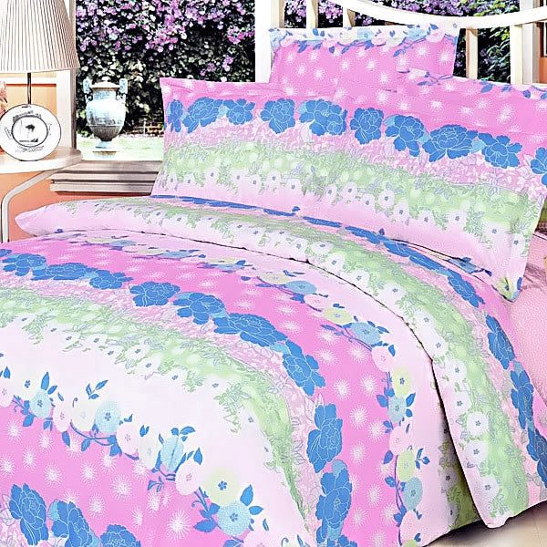 Pink Kaleidoscope 100% Cotton 4PC Duvet Cover Set (King Size) | My Bed Covers