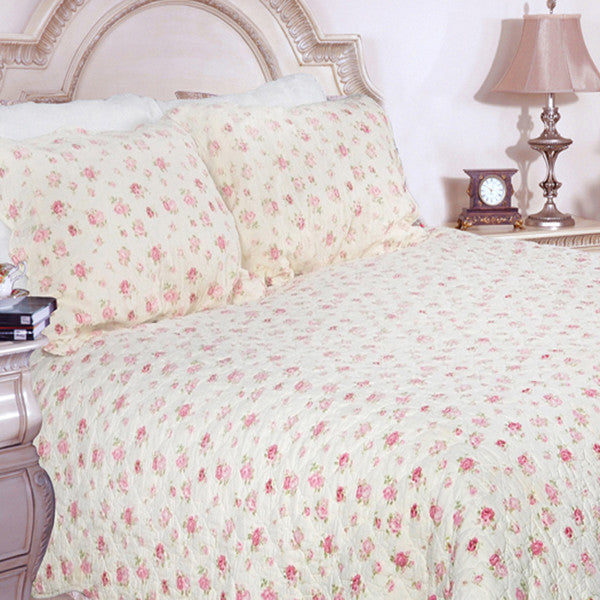 Pink Kingdom 100% Cotton 3PC Classic Floral Vermicelli-Quilted Quilt Set (King Size) - My Bed Covers - 1