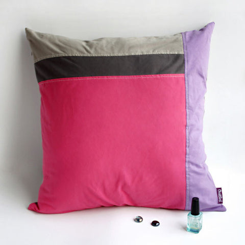 Pink Lady Knitted Fabric Patch Work Pillow Cushion - My Bed Covers - 1