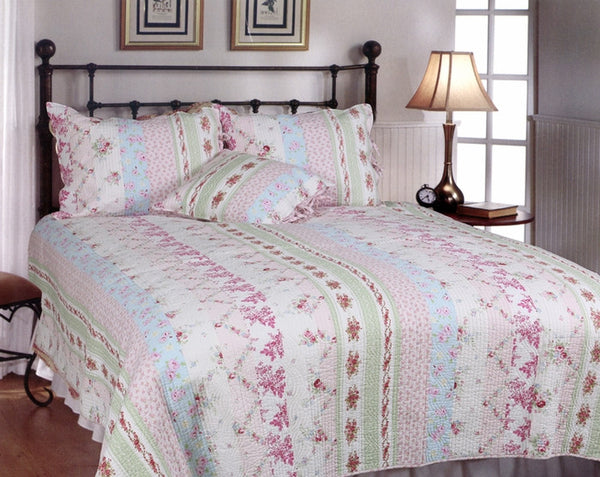 Pink Rosary 100% Cotton 2PC Classic Floral Vermicelli-Quilted Quilt Set (Twin Size) - My Bed Covers - 1