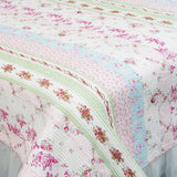 Pink Rosary 100% Cotton 2PC Classic Floral Vermicelli-Quilted Quilt Set (Twin Size) - My Bed Covers - 2
