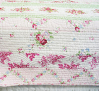 Pink Rosary 100% Cotton 2PC Classic Floral Vermicelli-Quilted Quilt Set (Twin Size) - My Bed Covers - 3