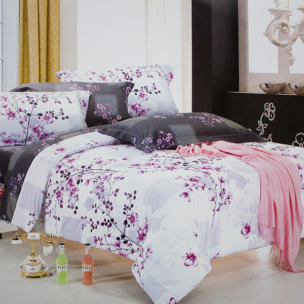 Plum In Snow 100% Cotton 4PC Comforter Cover/Duvet Cover Combo (Queen Size) | My Bed Covers