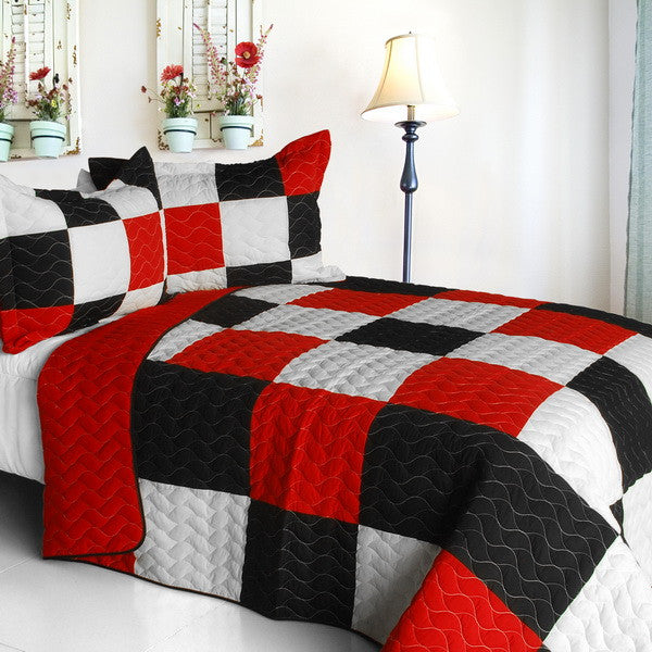 Poker King 3PC Vermicelli-Quilted Patchwork Quilt Set (Full/Queen Size) - My Bed Covers - 1