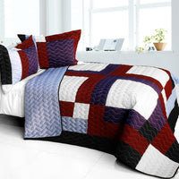 Pretty Raisin 3PC Vermicelli - Quilted Patchwork Quilt Set (Full/Queen Size) | My Bed Covers