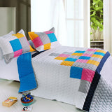 Pure Heaven 3PC Vermicelli-Quilted Patchwork Quilt Set (Full/Queen Size) | My Bed Covers