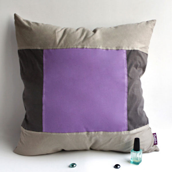 Purple Charm Knitted Fabric Patch Pillow Cushion | My Bed Covers
