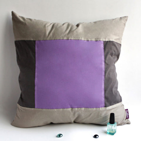 Purple Charm Knitted Fabric Patch Pillow Cushion - My Bed Covers - 1