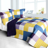 Purple Feelings 3PC Vermicelli - Quilted Patchwork Quilt Set (Full/Queen Size) | My Bed Covers