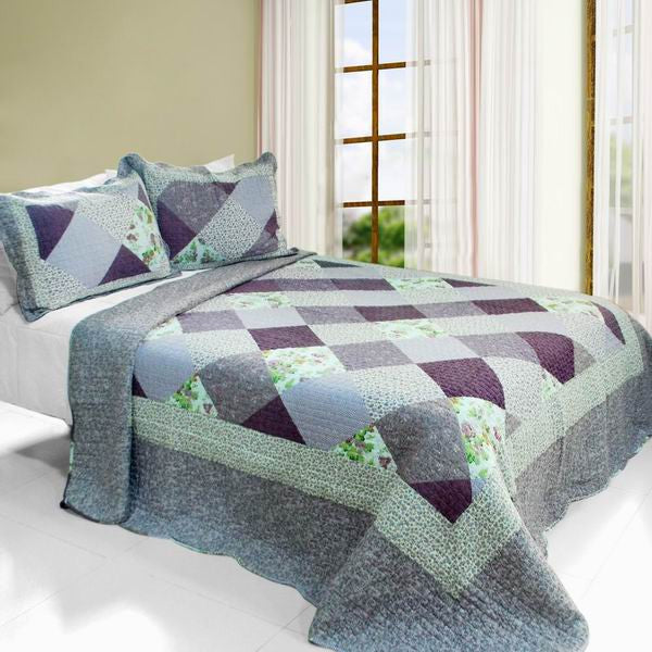 Purple Memory Cotton 3PC Vermicelli-Quilted Printed Quilt Set (Full/Queen Size) - My Bed Covers - 1