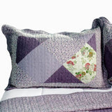 Purple Memory Cotton 3PC Vermicelli-Quilted Printed Quilt Set (Full/Queen Size) - My Bed Covers - 2