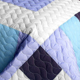 Purple Whirlies 3PC Vermicelli - Quilted Patchwork Quilt Set (Full/Queen Size) | My Bed Covers