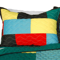 Rain Season 3PC Vermicelli-Quilted Patchwork Quilt Set (Full/Queen Size) | My Bed Covers