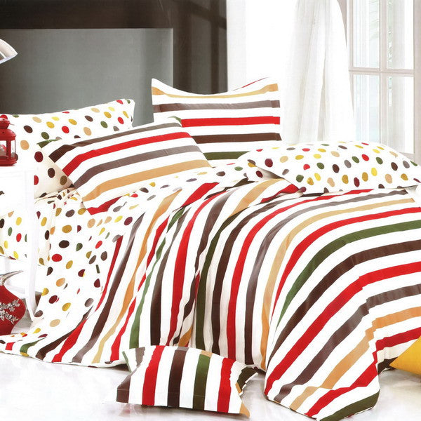 Rainbow Dots & Stripe 100% Cotton 3PC Comforter Cover/Duvet Cover Combo (Twin Size) | My Bed Covers