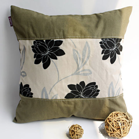 Realm Of Flowers Linen Patch Work Pillow Cushion - My Bed Covers - 1