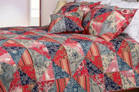 Red Rose Garden 100% Cotton 2PC Floral Vermicelli-Quilted Patchwork Quilt Set (Twin Size) - My Bed Covers - 1