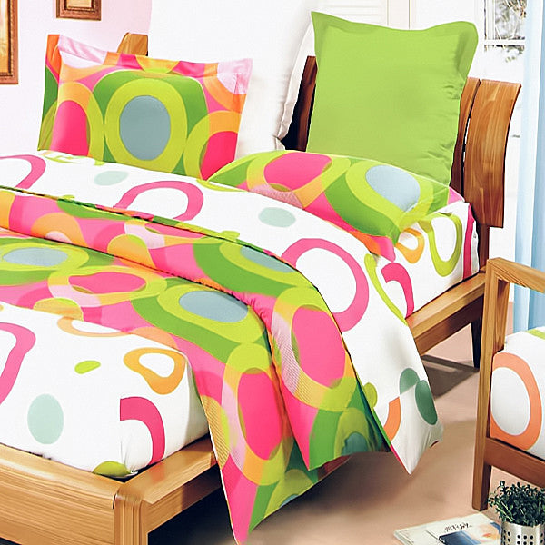 Rhythm Of Colors 100% Cotton 3PC Mini Comforter Cover/Duvet Cover Set (King Size) | My Bed Covers