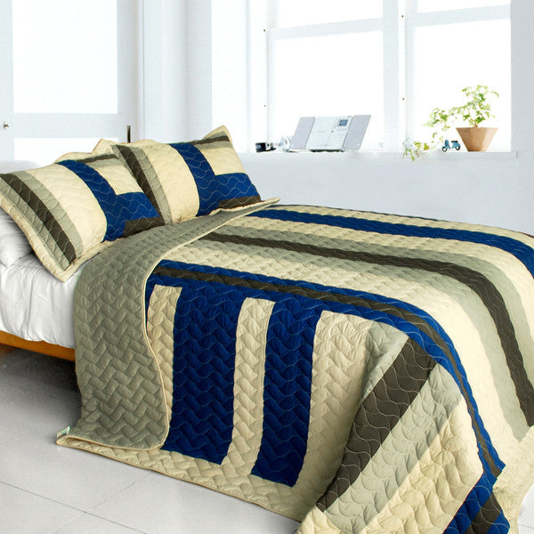 Road To Dream 3PC Vermicelli-Quilted Patchwork Quilt Set (Full/Queen Size) - My Bed Covers - 1