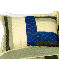 Road To Dream 3PC Vermicelli-Quilted Patchwork Quilt Set (Full/Queen Size) - My Bed Covers - 2
