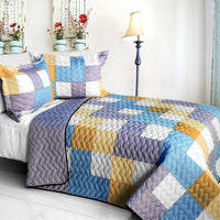 Romantic Macaron 3PC Vermicelli - Quilted Patchwork Quilt Set (Full/Queen Size) | My Bed Covers