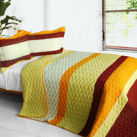 Ruk Sorn Rode 3PC Vermicelli-Quilted Patchwork Quilt Set (Full/Queen Size) - My Bed Covers - 1
