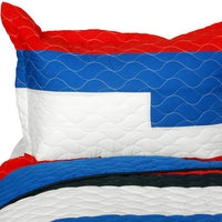 Sea Airs Vermicelli-Quilted Patchwork Striped Quilt Set (Full/Queen Size) | My Bed Covers