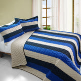 Sea Waves 3PC Vermicelli-Quilted Patchwork Quilt Set (Twin Size) - My Bed Covers - 1