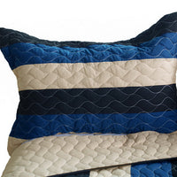 Sea Waves 3PC Vermicelli-Quilted Patchwork Quilt Set (Twin Size) - My Bed Covers - 2