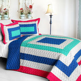 Sea's Passion Vermicelli-Quilted Patchwork Geometric Quilt Set (Full/Queen Size) - My Bed Covers - 1