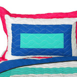 Sea's Passion Vermicelli-Quilted Patchwork Geometric Quilt Set (Full/Queen Size) - My Bed Covers - 2