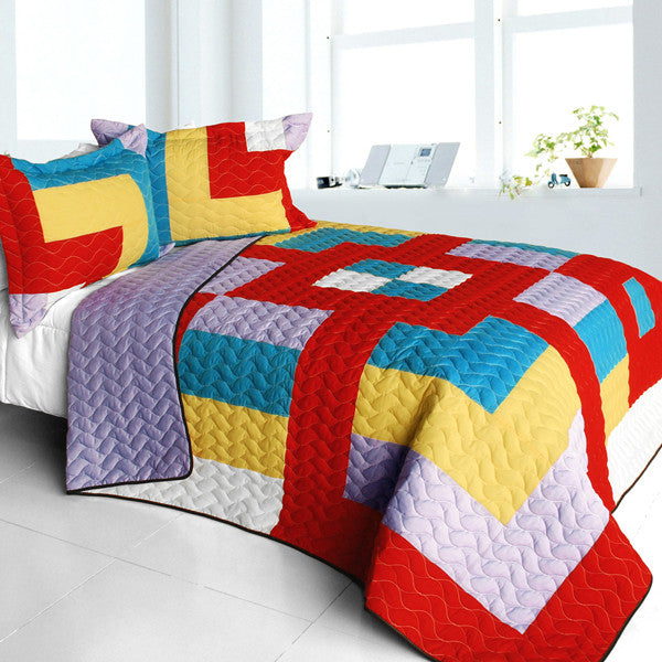 Second Space 3PC Vermicelli - Quilted Patchwork Quilt Set (Full/Queen Size) - My Bed Covers - 1